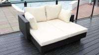 Cozy Bay Chicago 2 Seater Rattan Furniture Black Super Garden Lounger Set