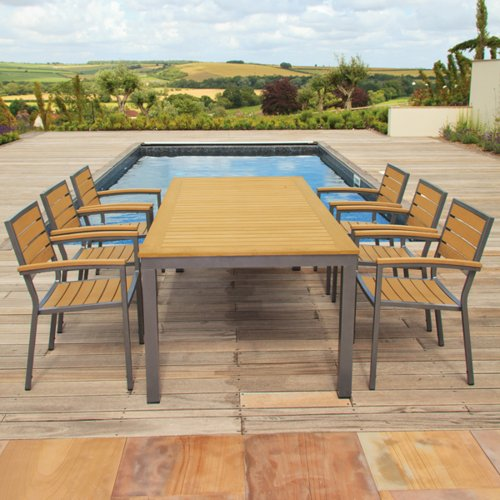 Sol Bistro Syn-Teak 6 Seater Teak Asian Restaurant Bistro Stackable Set