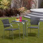 Cozy Bay Filtro 2 Seater Rattan Furniture Grey Restaurant Stackable Bistro Set