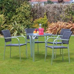 Cozy Bay Filtro 4 Seater Rattan Furniture Grey Restaurant Stackable Bistro Set
