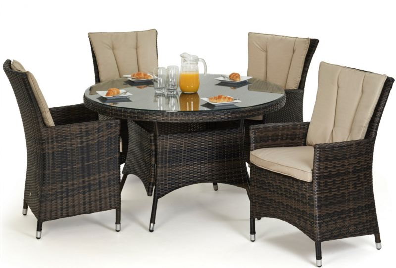 Maze Rattan - LA 4 Seater Round Dining Set in Brown