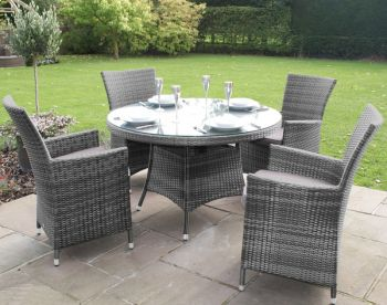 Maze Rattan - LA 4 Seater Round Dining Set in Grey