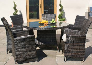 Maze Rattan - LA 6 Seater Round Dining Set in Brown