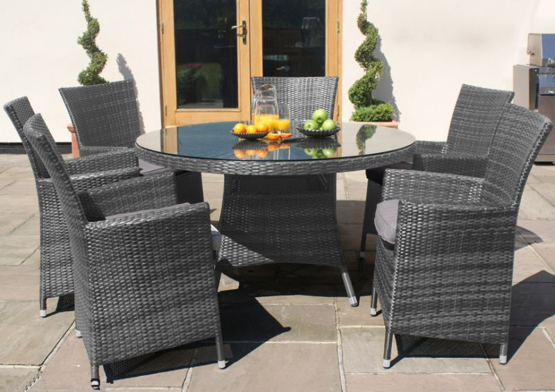 Maze Rattan - LA 6 Seater Round Dining Set in Grey