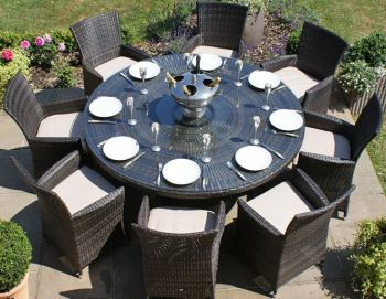 Maze Rattan - LA 8 Seater Round Dining Set in Brown