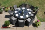 Maze Rattan - LA 8 Seater Round Dining Set in Grey