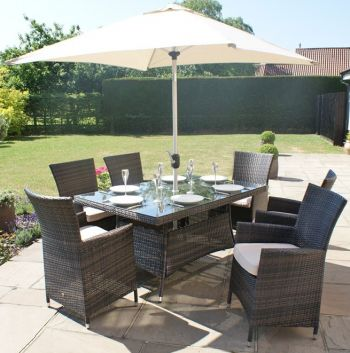 Maze Rattan - LA 6 Seater Rectangle Dining Set in Brown
