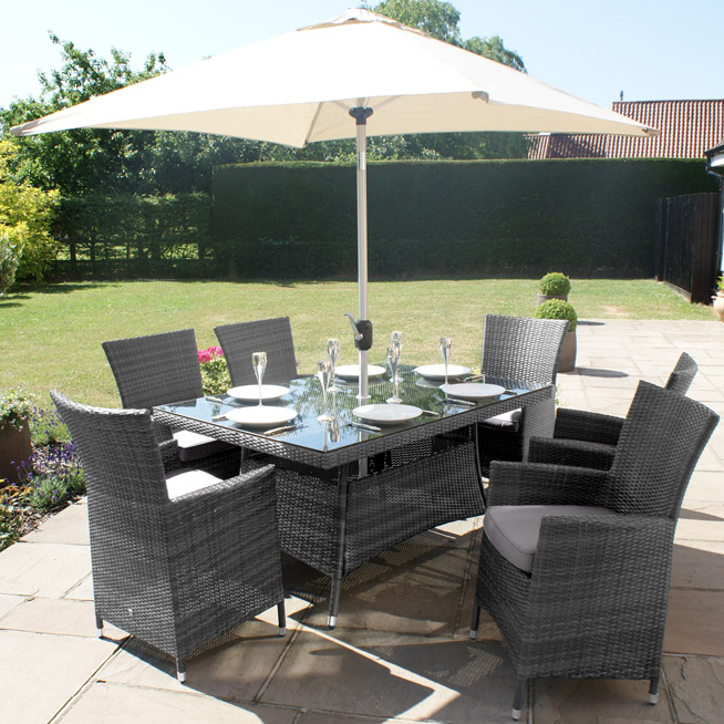 Maze Rattan - LA 6 Seater Rectangle Dining Set in Grey