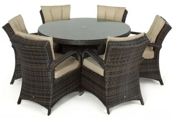 Maze Rattan - Texas 6 Seater Round Dining Set in Brown
