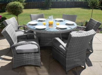 Maze Rattan - Texas 6 Seater Round Dining Set in Grey