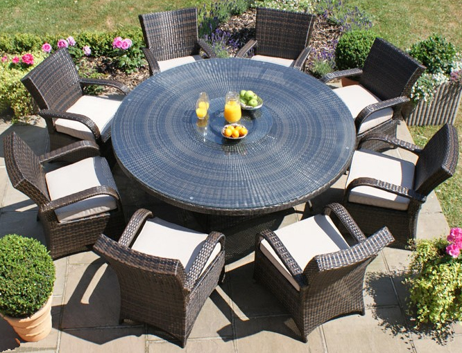 Maze Rattan - Texas 8 Seater Round Dining Set in Brown