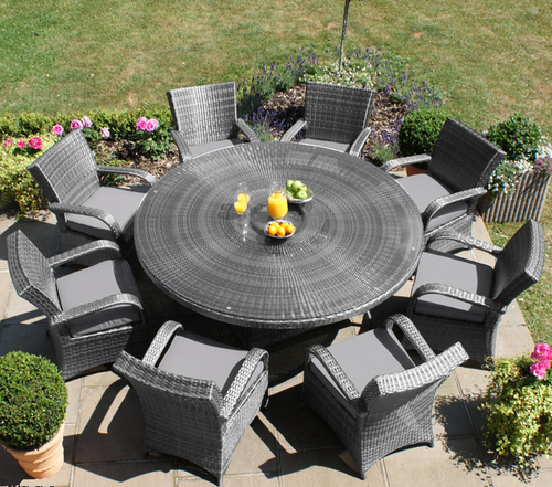 Maze Rattan - Texas 8 Seater Round Dining Set in Grey