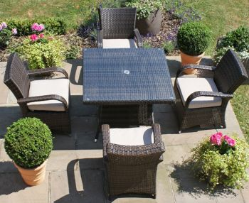 Maze Rattan - Texas 4 Seater Square Dining Set in Brown