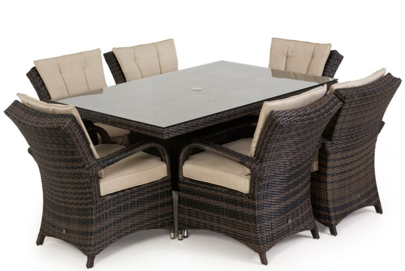 Maze Rattan - Texas 6 Seater Rectangle Dining Set in Brown Rattan
