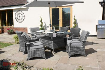 Maze Rattan - Texas 6 Seater Rectangle Dining Set in Grey Rattan