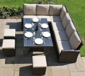 Maze Rattan - Kingston Corner Eight Seater Dining Set in Brown Rattan