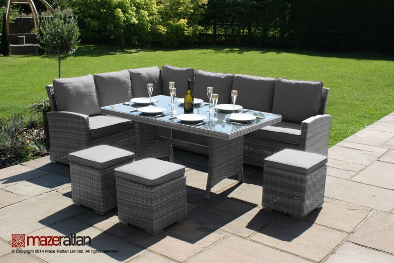 Maze Rattan - Kingston Corner Eight Seater Dining Set in Grey Rattan