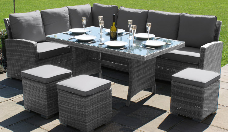 Maze Rattan Kingston Corner Eight Seater Dining Set In