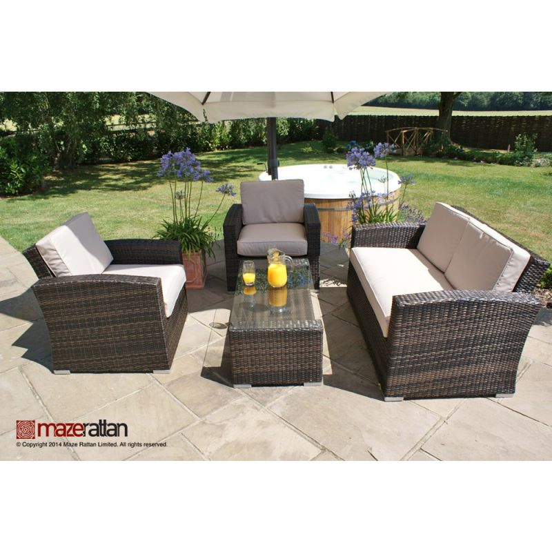 Maze Rattan - Kingston 2 Seater Sofa Set in Brown Rattan