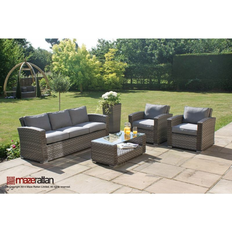 Maze Rattan - Victoria 5 Seater Sofa Set in Grey
