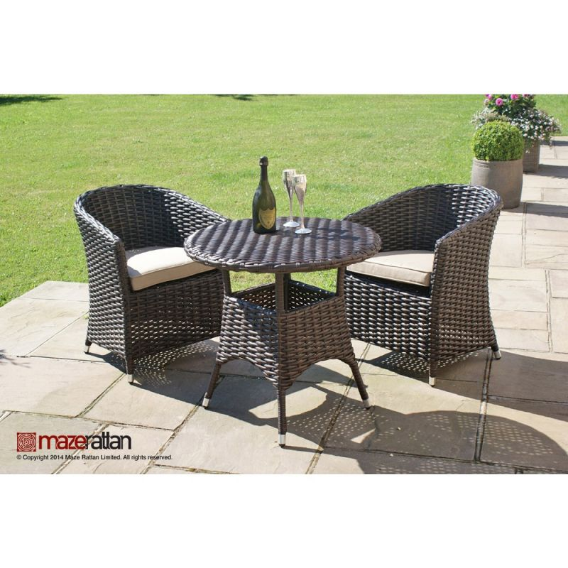 Maze Rattan - Milan 2 Seater Round Bistro Set in Dark Brown