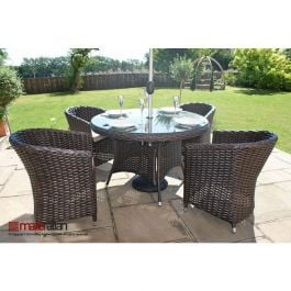 Maze Rattan - Milan 4 Seater Round Dining Set in Dark Brown