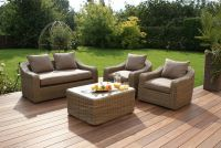 Maze Rattan - Natural Milan Rounded 4 Seater Sofa Set Beige Cushions