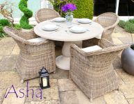 "4 Seater Rattan and Stone Garden Dining Set - Asha™ ""Sonning"""
