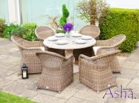 "6 Seater Rattan and Stone Garden Dining Set - Asha™ ""Sonning"""