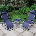 Anti-Gravity Reclining Chair and Table Set - Blue