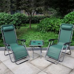 Anti-Gravity Reclining Chair and Table Set - Green