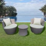 3 Piece Rattan Egg Table & Chairs Set