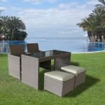 5 Piece Store-Away Faux Rattan Seating Set - 128cm