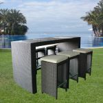 7 Piece Faux Rattan Bar Set - 185cm