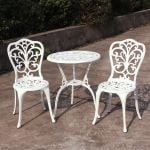 Tall White Aluminium Bistro Set