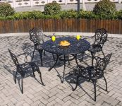 4 Seater Black Aluminium Seating Set
