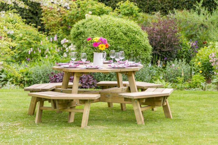 2.5m (8ft 2in) Alex Octagon Wooden Picnic Table by Zest 4 Leisure®
