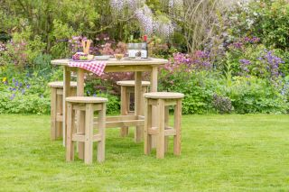 1.5m (4ft 11in) Bahama Garden Table 4 Stools Set FSC® by Zest 4 Leisure®