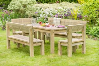 3.2m (10ft 6in) Philippa Table Bench Chairs Set FSC® by Zest 4 Leisure®