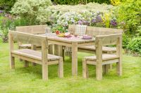 Philippa Table, 2 Bench and 2 Chair Set by Zest4Leisure