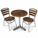 Aluminium And Teak Table Set 2 Seat