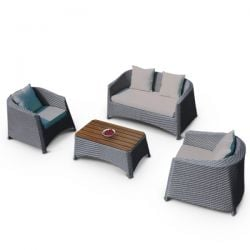Rattan Sofa Set - Light Grey