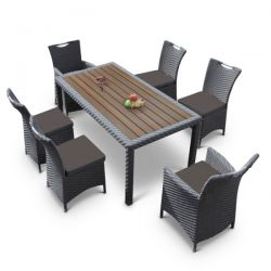 Rattan Dining Set - Dark Grey