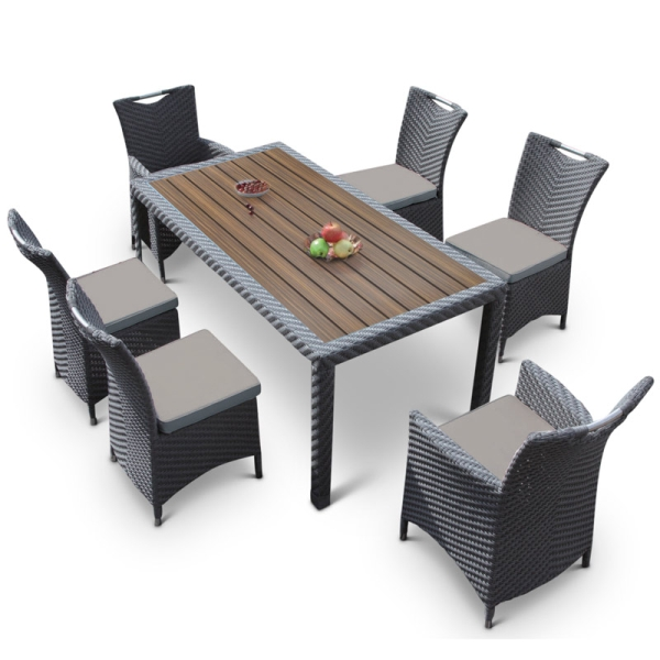 Rattan Dining Set - Light Grey