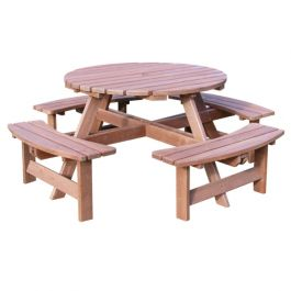 York Round 8 Seat Picnic Table