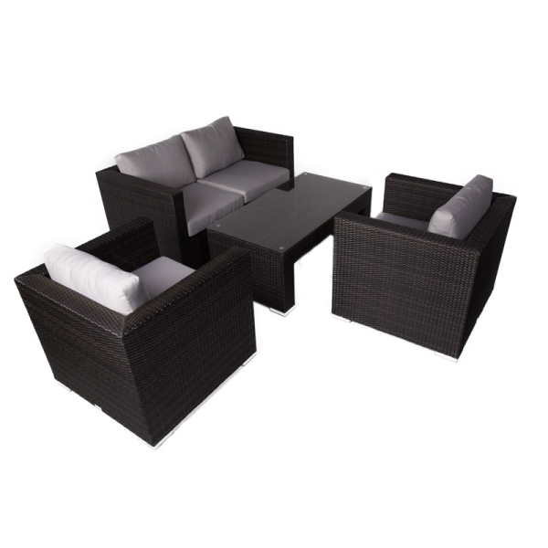 Denby 4 Seat Sofa Set With Glass Top