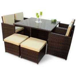 Rattan 4/8 Seat Cube Set with Glass Top