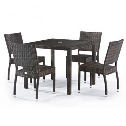 Rattan Andreas Set With Glass Top