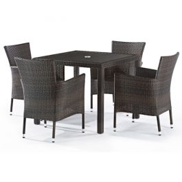 Rattan Alonso Set With Glass Top