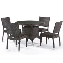 Rattan Cassius Dining Set With Glass Top